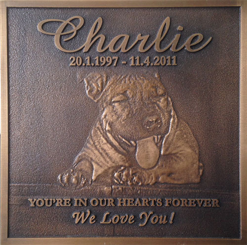 pet bronze image memorial plaque